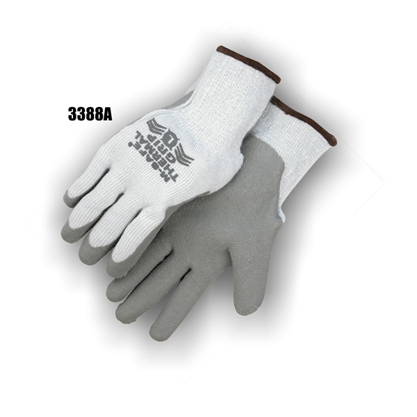 String Knit Rubber Palm Dipped Winter Lined Gloves