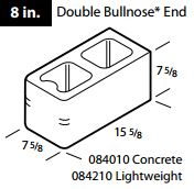 "8"" Concrete double bullnose end block"
