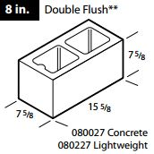 "Concrete 8"" double flush block"