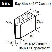 Concrete 45° corner bay block 6""