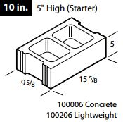 "10"" concrete 5 high (starter) block"