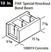 "10""Concrete FHA knockout bond beam block"