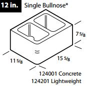 "12"" Concrete single bullnose block"