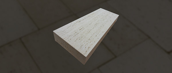 Rochester Concrete Travertine Step, Ivory, 48x18