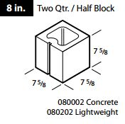 1/2 Long Concrete Block 8""