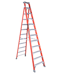 Fiberglass step to shelf ladder