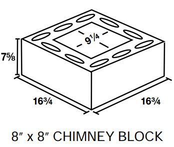 "Chimney block with cutout 8"" x 8"""