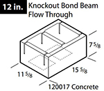 "Concrete 12"" knockout flow through bond beam block"