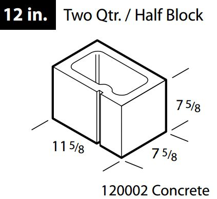 "Concrete 12"" half block"