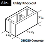 "Concrete 8"" utility knockout block"