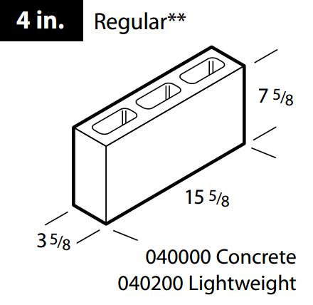 "Regular 4"" concrete block"