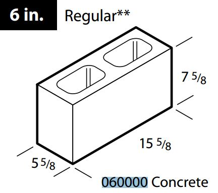 "Regular 6"" concrete block"
