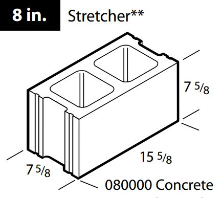 "Regular 8"" concrete block"