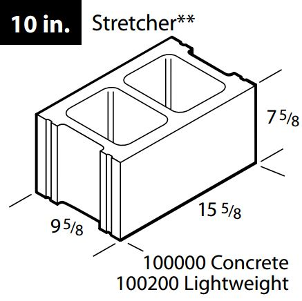 "Regular 10"" concrete block"