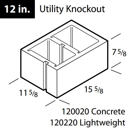 "Concrete 12"" utility knockout block"