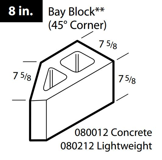 Concrete 45° corner bay block 8""