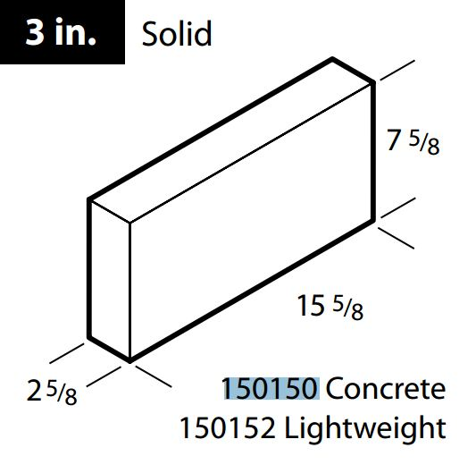 "3"" solid concrete block"