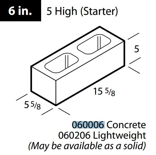 "6"" concrete 5 high block"