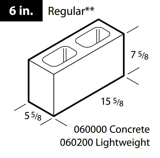 "Concrete 6"" lightweight block"