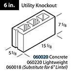 "Concrete 6"" utility knockout block"