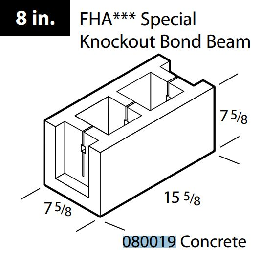 "8"" Concrete FHA knockout bond beam block"