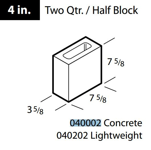 1/2 Long Concrete Block 4""