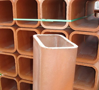"Clay Flue Liner 2'x8 1/2""x 8 1/2"" w/6"""