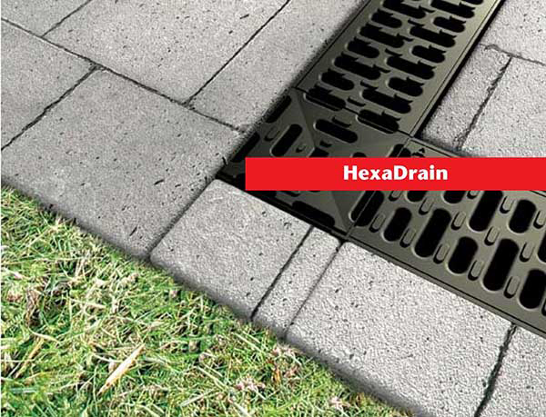 ACO Hexdrain gray channel with gray grate, 19222